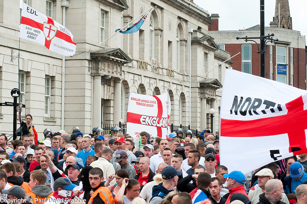 EDL supporters outside Rotherham Town Hall before the start of the English Defence Leagues Justice for the Rotherham 1400 March on Saturday Afternoon described by an EDL Facebook Page as &quot;a protest against the Pakistani Muslim grooming gangs&quot; on Saturday Afternoon <br /> <br /> <br /> Image &copy; Paul David Drabble <br /> www.pauldaviddrabble.co.uk