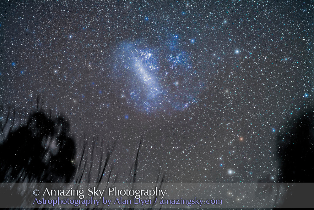 The Large Magellanic Cloud satellite galaxy to the Milky Way low in the sky amid trees and haze, with the stars fuzzy from the high cloud passing through, accentuating the colours of the stars. <br /> <br /> This is a stack of 5 x 2.5-minute exposures, tracked, with the 85mm Rokinon lens at f/2 and Canon 5D MkII at ISO 2500. Taken from Coonabarabran, Australia, April 18, 2017.