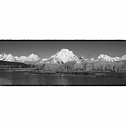 Grand Tetons - Oxbow Bend, WY - Panoramic - Black & White - Custom Border
