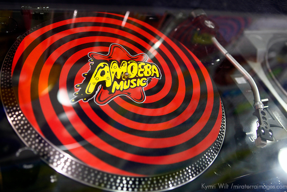 USA, California, Los Angeles. Turntable at Amoeba Music Store in Hollywood.
