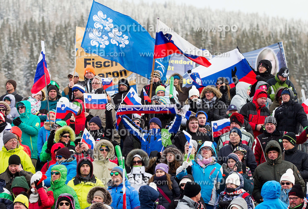Supporters of Slovenia during the Men's Parallel Giant Slalom at FIS World Championships of Snowboard and Freestyle 2015, on January 23, 2015 at the WM Piste in Lachtal, Austria. Photo by Vid Ponikvar / Sportida