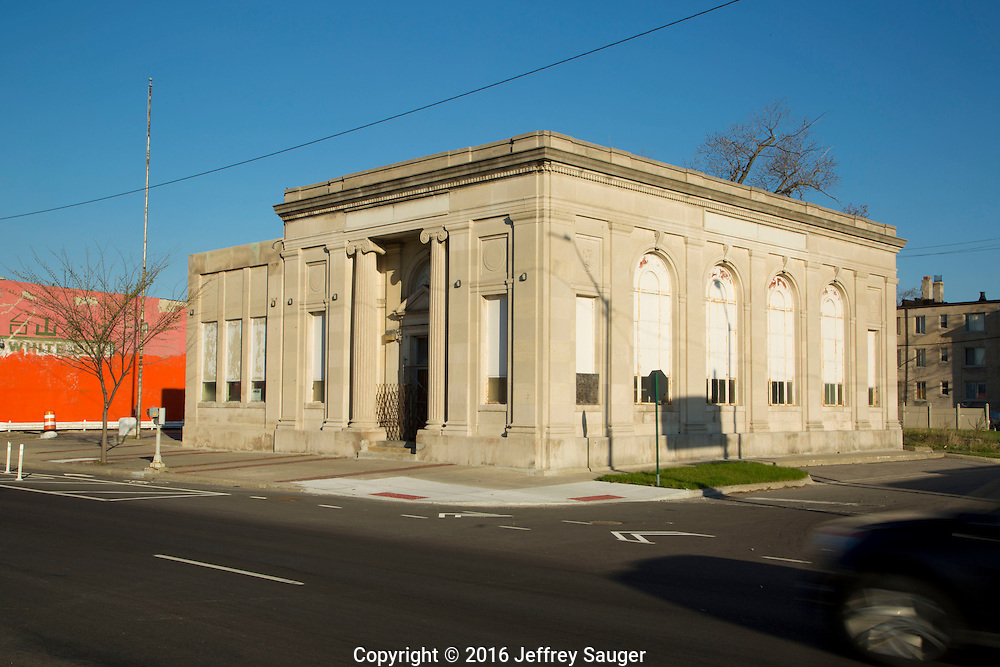 People's Savings Bank in the Jefferson-Chalmers neighborhood in Detroit, Michigan, Wednesday, April 20, 2016. <br /> <br /> On September 7, 2016, The National Trust for Historic Preservation gave the Jefferson-Chalmers neighborhood in Detroit&rsquo;s lower east side the distinction of a National Treasure. This is the first in the state of Michigan and the first project under the National Trust&rsquo;s ReUrbanism initiative. (Photo by Jeffrey Sauger )