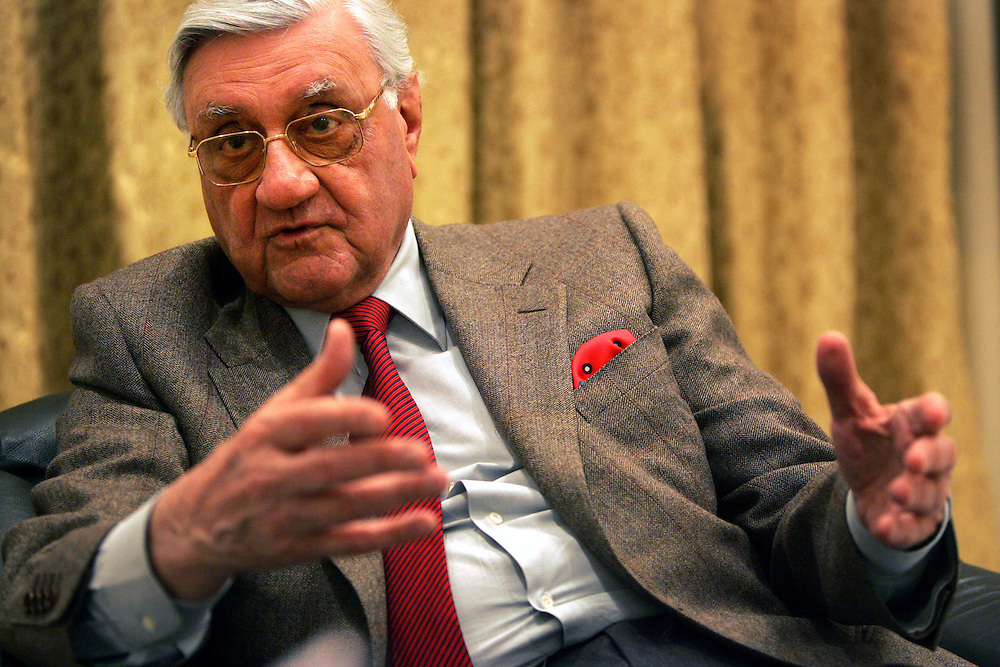 9 December 2004,.Baghdad, Iraq..Formation of new Shiite alliance in Iraq..In Baghdad on 9 December the head of Iraqs Independent Democrats 81 year old Adnan al-Pachachi discusses the up coming elections during an interview with The New York Times.