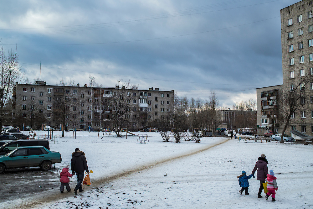 People walk through the center of the city on Saturday, November 30, 2013 in Asbest, Russia.