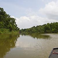 Boating on the Brazos River, Brazoria County, Texas.