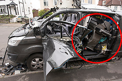 "© Licensed to London News Pictures. 28/04/2017; Bristol, UK. Red circle highlighting a gas BBQ in the rear of the van, believed to have been carrying the gas canister which exploded. It is believed the driver was going away for a ""rugby weekend"" and had earlier loaded a gas barbeque into the van. Damage to a van caused by an exploding gas cylinder in the Redland area of Bristol this morning. A man was taken to hospital to be treated for his injuries after an explosion in a van. Photo credit : Simon Chapman/LNP"