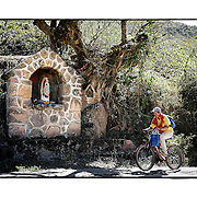 """SHOT 2/7/15 2:11:18 PM - A local rides his bike past a pair of roadside capillas in the mountains just outside of Col La Yerbabuena, Mexico and featuring Nuestra Señora de Guadalupe as well as pictures of loved ones and personal effects. The Virgin of Guadalupe has symbolized the Mexican nation since Mexico's War of Independence. Our Lady of Guadalupe (Spanish: Nuestra Señora de Guadalupe) is a celebrated Catholic icon of the Virgin Mary also known as the Virgin of Guadalupe (Spanish: Virgen de Guadalupe). The Lady of Guadalupe is of significant importance to Mexican Catholics and has been given the titles of """"Queen of Mexico"""", """"Empress of the Americas"""", and """"Patroness of the Americas"""". Roadside capillas, or tiny chapels, are common along the roads and highways of Mexico which is heavily Catholic and are often dedicated to certain patron saints or to the memory of a loved one that has passed away. Often times they contain prayer candles, pictures, personal artifacts or notes. (Photo by Marc Piscotty / © 2015)"""