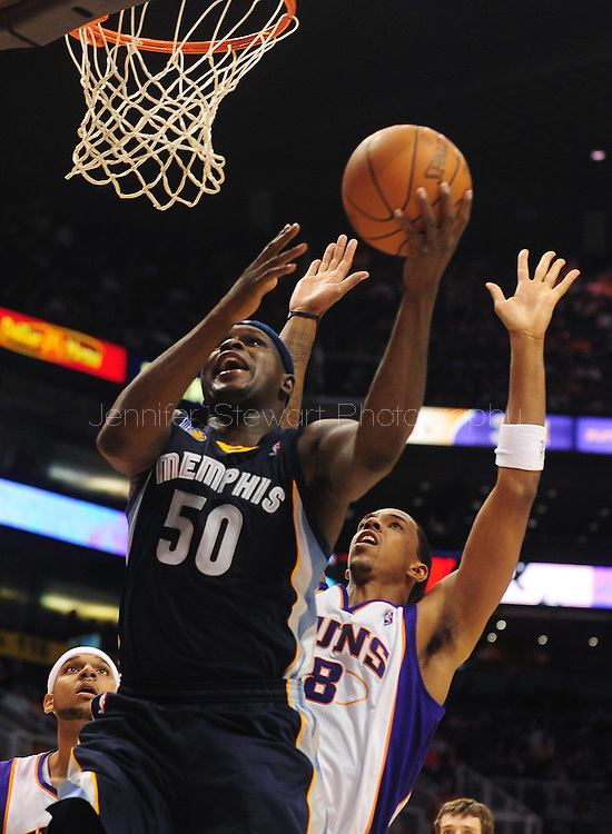 Nov. 5 2010; Phoenix, AZ, USA; Memphis Grizzlies forward Zach Randolph (50) puts up a shot during the first half against Phoenix Suns center Channing Frye (8) at the US Airways Center. Mandatory Credit: Jennifer Stewart-US PRESSWIRE.