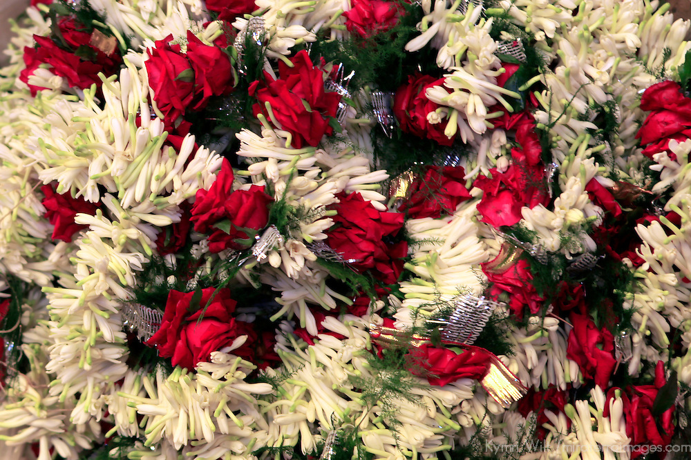 Asia, India, Calcutta. Floral garlands from the flower market in Calcutta.