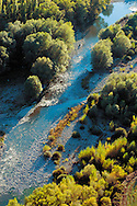 Aerial view of a mountain river. Aragonese Pyrenees.