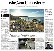"THE NEW YORK TIMES. A1. ""An Exodus from Venezuela"" by Nicholas Casey. November 26, 2016"