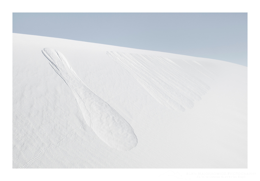 Abstract patterns created from sand sliding down from dune crest, White Sands National Monument New Mexico
