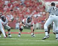 Ole Miss offensive lineman Patrick Junen (77) at Reynolds Razorback Stadium in Fayetteville, Ark. on Saturday, October 23, 2010.