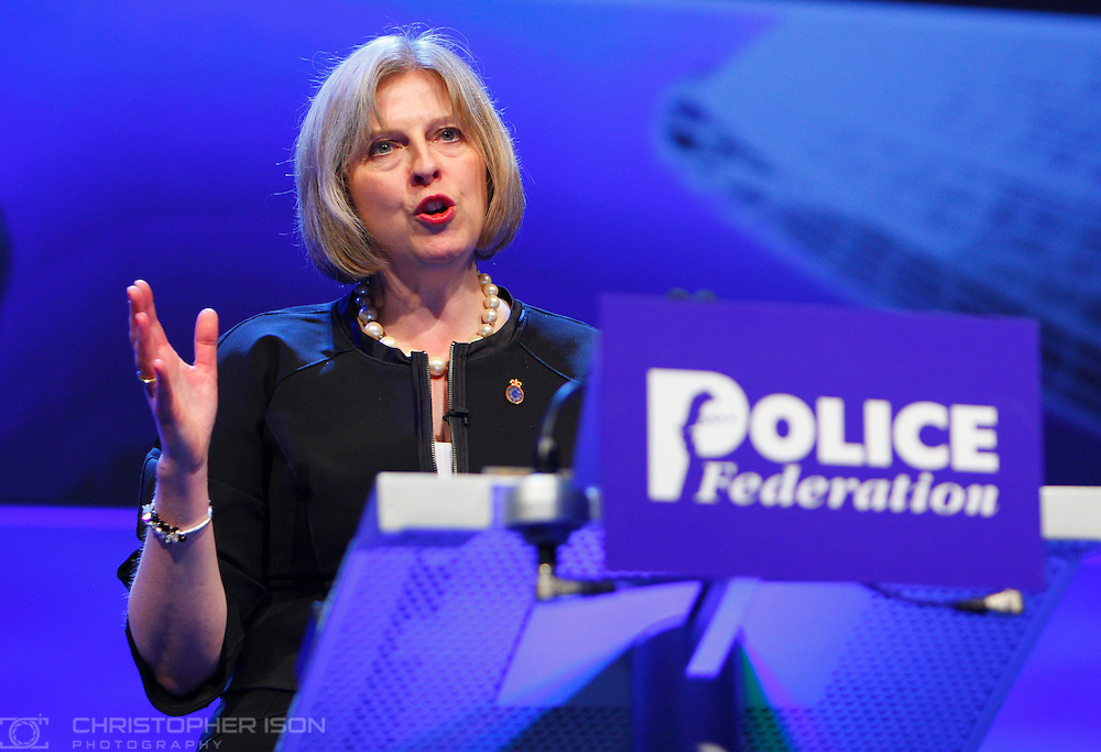 The Home Secretary Theresa May speaking at the Police Federation annual conference in Bournemouth.