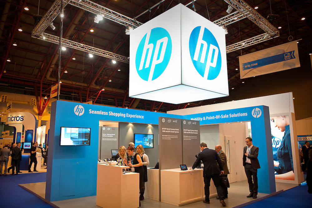 The HP stand at the Retail Business Technology 2013 event at the Earl's Court Exhibition Centre in London, Britain.
