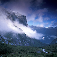 Mountains seen from road to Milford Sound, Fiordland National Park, South Island, New Zealand