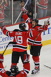 Jan 22, 2013; Newark, NJ, USA; New Jersey Devils center David Clarkson (23) celebrates his goal during the first period of their game against the Philadelphia Flyers at the Prudential Center.