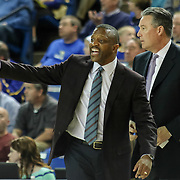 Drexel Head Coach James Flint instructs his team from the side lines in the first half of a NCAA regular season Colonial Athletic Association conference game between Delaware and Drexel Sunday, Feb 23, 2014 at The Bob Carpenter Sports Convocation Center in Newark Delaware.