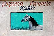 Farm sign of a horse in Rodas, Cienfuegos Province, Cuba.