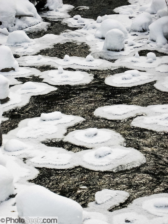 Powdery snow islands dot Commonwealth Creek in Commonwealth Basin, Alpine Lakes Wilderness Area, Snoqualmie Pass, Washington, USA.