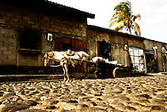 A horse and cart parked outside of a home in the city center of Leon, Nicaragua.