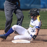Delaware Infielder Leanna Gearhart (11) slides into second base on a doubles during a Colonial Athletic Association regular season softball game between Delaware and Hofstra Saturday, April 16, 2016, at Delaware softball stadium in Newark, Delaware.