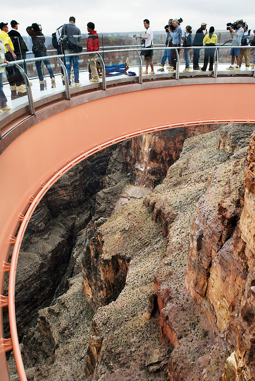 The Skywalk is the first ever cantilever-shaped glass walkway suspended more than 4,000 feet above the Grand Canyon's floor and extending 70 feet from the canyon's rim. It is located on the Hualapai reservation...Photographer: Chris Maluszynski /MOMENT