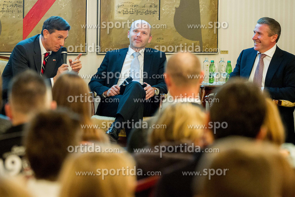 Borut Pahor, Gregor Bencina and Sergey Bubka during visit of Sergey Bubka in Slovenia and his meeting with young athletes on November 8, 2013 in Grand Hotel Toplice, Bled, Slovenia. Photo by Vid Ponikvar / Sportida