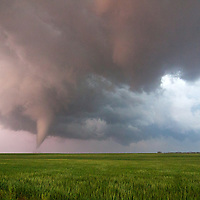 A tornado churns along the prairie near Rozel, Kansas, May 18, 2013.