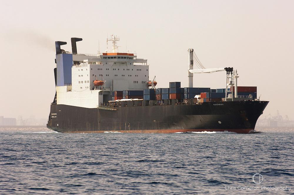 Container roll on roll off cargo ship Marienborg in the Mediteranean sea near Valencia, Spain. 21/6/2006