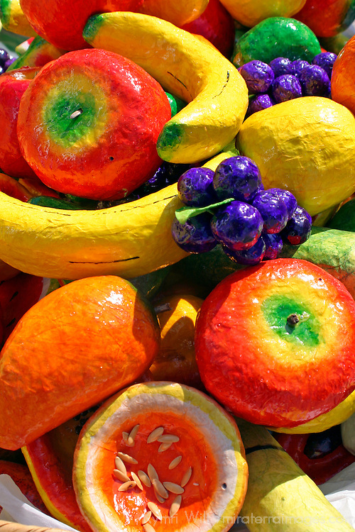 Americas, Mexico, Guanajuato.  Paper Mache fruits make for colorful souvenirs from Mexico, where the craft is a common art form.