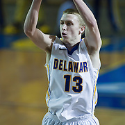 02/01/12 Newark DE: University of Delaware Freshman Guard #13 Kyle Anderson attempts a long range jump shot during a Colonial Athletic Association conference Basketball Game against George Mason Wed, Feb. 1, 2012 at the Bob Carpenter Center in Newark Delaware.<br /> <br /> Kyle Anderson leads the hens with 21 points.