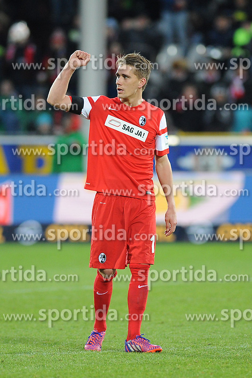31.01.2015, Schwarzwald Stadion, Freiburg, GER, 1. FBL, SC Freiburg vs Eintracht Frankfurt, 18. Runde, im Bild Jubel bei Roman Buerki (Torwart SC Freiburg) // during the German Bundesliga 18th round match between SC Freiburg and Eintracht Frankfurt at the Schwarzwald Stadion in Freiburg, Germany on 2015/01/31. EXPA Pictures &copy; 2015, PhotoCredit: EXPA/ Eibner-Pressefoto/ Laegler<br /> <br /> *****ATTENTION - OUT of GER*****