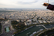 View from The Eiffel Tower (French: Tour Eiffel). It is an iron tower built on the Champ de Mars beside the Seine River in Paris. The tower has become a global icon of France and is one of the most recognizable structures in the world. Tuesday, Sept. 16, 2008. (ivan gonzalez)