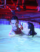 July 15th, 2010  Santa Barbara, California  ***EXCLUSIVE*** Katy Perry films a music video for Teenage Dream in her hometown of Santa Barbara. Katy filmed a scene in a hotel swimming pool in which she gets romantic with chiseled actor Josh Kloss while wearing only  a bra and underwear. After getting out of the pool, Katy shook water off her body like a wet dog getting everyone near her wet. Photo by Eric Ford/Danny Mayer/ On Location News 818-613-3955 info@onlocationnews.com