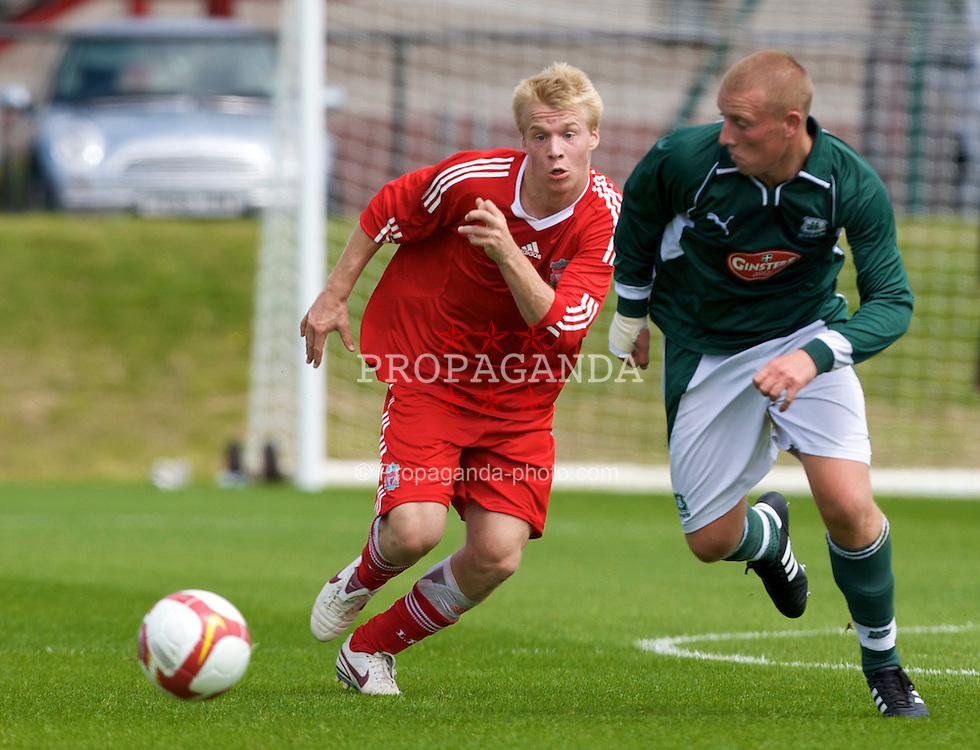 KIRKBY, ENGLAND - Saturday, July 26, 2008: Liverpool's Marvin Pourie in action against Plymouth Argyle during a pre-season friendly match at the Academy. (Pic by David Rawcliffe/Propaganda)