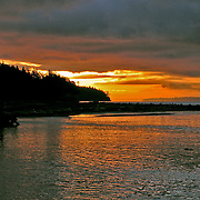 Winter sunrise from the southern end of Indian Island on Washington's Puget Sound