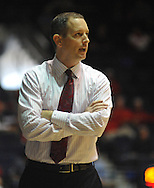 "Rutgers head coach Mike Rice reacts against Mississippi at the C.M. ""Tad"" Smith Coliseum in Oxford, Miss. on Saturday, December 1, 2012. (AP Photo/Oxford Eagle, Bruce Newman).."