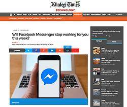 Khaleej Times, UAE; Facebook Messenger logo on smart phone