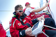 SPAIN, Alicante. 20th October 2011. On board Team Sanya practice session. Navigator Aksel Magdahl.