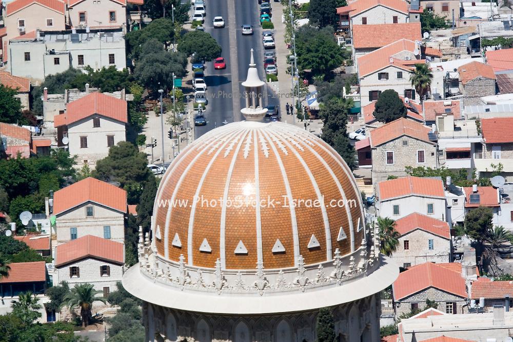 Israel, Haifa, The Bahai Gardens, The golden dome of the Shrine of the Bab.