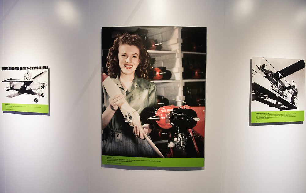 "30206010A - DRONES - Norma Jeane Mortenson, later known as Marilyn Monroe, is seen working on an OQ-2 Radioplane at the ""Drones: Is the Sky the Limit?"" exhibit at the Intrepid Sea, Air, and Space Museum in New York, NY on May 9, 2017."