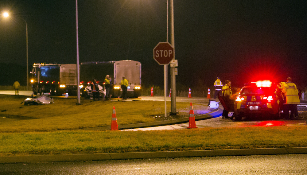 Emergency services attended a serious crash between a truck and a car on the Hawkes Bay Expressway on the outskirts of Napier, New Zealand, Wednesday, August 05, 2015. Credit:SNPA / Daniel Fraser