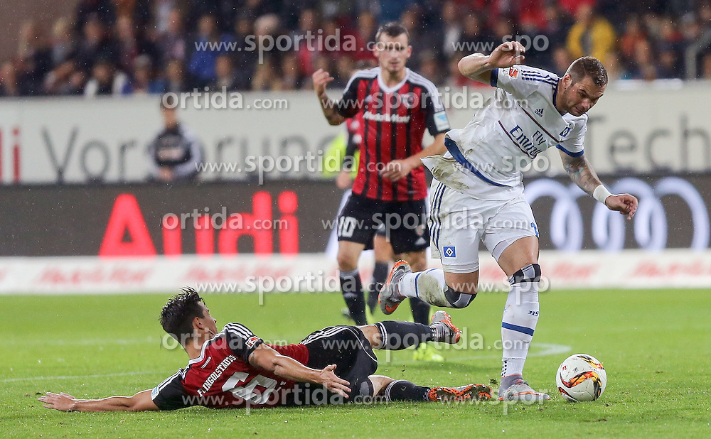 22.09.2015, Audi Sportpark, Ingolstadt, GER, 1. FBL, FC Ingolstadt 04 vs Hamburger SV, 6. Runde, im Bild Zweikampf Pierre-Michel Lasogga (Nr.10, HSV) gegen Alfredo Morales (Nr.6, FC Ingolstadt 04) // during the German Bundesliga 6th round match between FC Ingolstadt 04 and Hamburger SV at the Audi Sportpark in Ingolstadt, Germany on 2015/09/22. EXPA Pictures &copy; 2015, PhotoCredit: EXPA/ Eibner-Pressefoto/ Strisch<br /> <br /> *****ATTENTION - OUT of GER*****