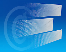 e-mail letters flying through cyberspace