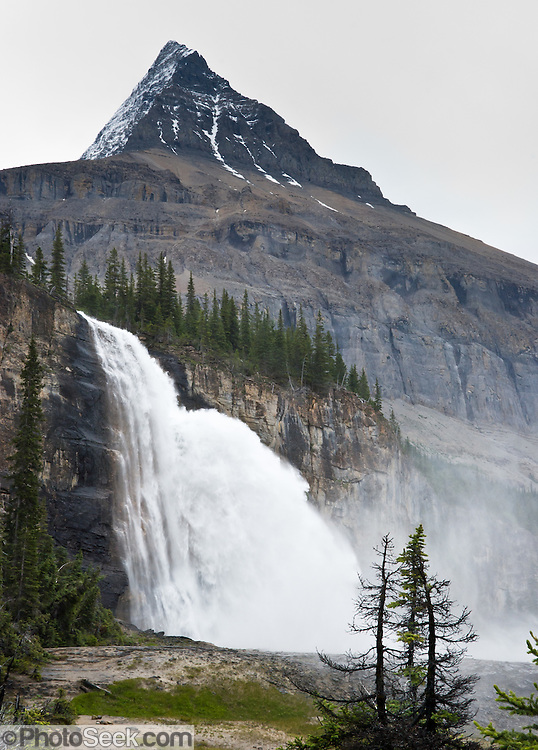 Emperor Falls plunges from Mount Robson (3954 meters or 12,972 feet elevation), the highest peak in the Canadian Rockies. Mount Robson Provincial Park (in British Columbia, Canada) is part of the Canadian Rocky Mountain Parks World Heritage Site declared by UNESCO in 1984.