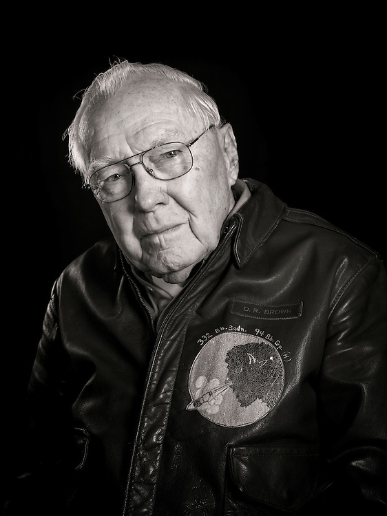 """D.R. """"Duke"""" Brown was a B-17 flight engineer and top turret gunner, completing 33 missions with the 94th Bomb Group.  His crew often launched as an """"airborne spare"""", taking the place of other aircraft that dropped out of the formation."""