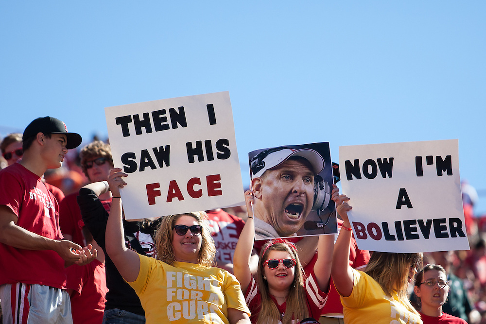 September 21, 2013: Husker fans showing their support of Nebraska head coach Bo Pelini during the game against the South Dakota State Jackrabbits at Memorial Stadium in Lincoln, Nebraska. Nebraska defeated South Dakota State 59 to 20.