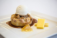 Hudson Valley apple pie, sour cream ice cream, aged cheese and honey, which will be served for the inaugural lunch, is displayed on Friday, January 4, 2013 in Washington, DC.