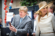 King Willem-Alexander and Queen Maxima of The Netherlands visit MaRS Innovation Institute where they attend three startups; VanHawks Smartbike, WatrHub watermanagement data and eSight Electronic glasses in Toronto, Canada, 29 May 2015. The King and Queen of The Netherlands bring an state visit from 27 till 29 may to Canada. COPYRIGHT ROBIN UTRECHT